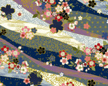Traditional Japan Sheeting Metallic - Floral Stripe Blue from Cosmo Fabric