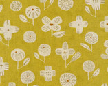 Celamic Art CANVAS - Flower Mustard Yellow from Kokka Fabric
