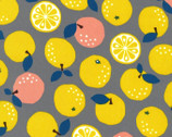 Fruits Citrus Orange OXFORD - Gray from Kokka Fabric