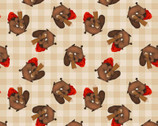 Timber Gnomies - Beavers Beige by Shelly Comiskey from Henry Glass Fabric