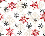 Timber Gnomies - Snowflake White by Shelly Comiskey from Henry Glass Fabric