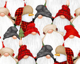 Timber Gnomies - Stacked Gnomes Multi by Shelly Comiskey from Henry Glass Fabric