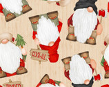 Timber Gnomies - Stacked Gnomes Woodgrain by Shelly Comiskey from Henry Glass Fabric