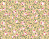 Gingham Farmhouse - Vintage Roses Peachy Yellow from Poppie Cotton Fabric