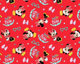 Disney Minnie Mouse Just Go With The Bow Red KNIT from Springs Creative Fabric