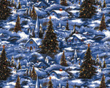 Classic Christmas Holiday Landscape Blue from David Textiles Fabrics