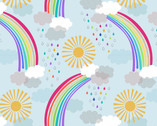 Rainbows - Pastal Rainbows Light Blue from Lewis and Irene Fabric