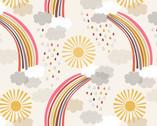 Rainbows - Calming Rainbows Cream from Lewis and Irene Fabric