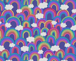 Rainbows - All Over Rainbows  Blue from Lewis and Irene Fabric