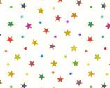 Rainbows Metallic - Bright Stars White  from Lewis and Irene Fabric