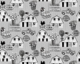 Buttermilk Farmstead - Farm Landscape Grey by Grace Popp from Studio E Fabrics