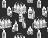 Buttermilk Farmstead - Milk Bottles Black by Grace Popp from Studio E Fabrics