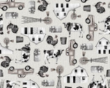 Buttermilk Farmstead - Tossed Farm Icons by Grace Popp from Studio E Fabrics