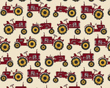 Quilter Barn Prints - Tractor Cream Red from Benartex Fabrics