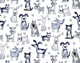 Poochie McGruff FLANNEL - Allover Dog White from 3 Wishes Fabric
