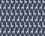 Poochie McGruff FLANNEL - Row Dogs Navy from 3 Wishes Fabric