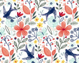 Madison - Floral Bird White from 3 Wishes Fabric
