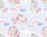 Unicorn Utopia - Unicorns and Rainbows Blue Glitter from 3 Wishes Fabric