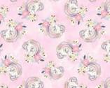Unicorn Utopia - Unicorns Pink Glitter from 3 Wishes Fabric