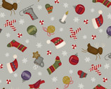Most Wonderful Time FLANNEL - Tossed Winter Motifs Grey by Bonnie Sullivan from Maywood Studio Fabric