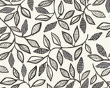 Farah Flowers - Monotone  Leaves by Crystal Designs from P & B Textiles Fabric