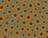 Quilter Barn Prints II -  Amelia  Sunflower Fresca Blue by Painted Sky Studio from Benartex Fabrics