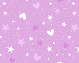 Unicorn Magic Pearlescent - Magical Stars and Hearts Lilac from Kanvas Studio Fabric