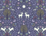 Nighttime in Bluebell Wood -Mirrored Woodland Ink GLOW in DARK from Lewis and Irene Fabric