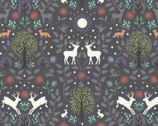 Nighttime in Bluebell Wood -Mirrored Woodland Nighttime GLOW in DARK from Lewis and Irene Fabric