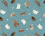 Nighttime in Bluebell Wood -Owls Blue GLOW in DARK from Lewis and Irene Fabric