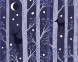 Nighttime in Bluebell Wood -Forest Deer Dark GLOW in DARK from Lewis and Irene Fabric