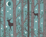Nighttime in Bluebell Wood -Forest Deer Aqua Teal GLOW in DARK from Lewis and Irene Fabric