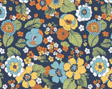 Carnaby Street - Full Blooms Navy from Maywood Studio Fabric