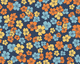 Carnaby Street - Little Flowers Navy Teal from Maywood Studio Fabric