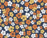 Carnaby Street - Little Flowers Navy Orange White from Maywood Studio Fabric