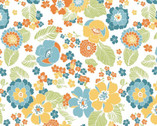 Carnaby Street - Full Blooms White from Maywood Studio Fabric