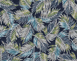 Turtle Bay - Tossed Palm Leaves Navy from Maywood Studio Fabric