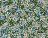 Turtle Bay - Tossed Palm Leaves Green from Maywood Studio Fabric