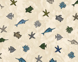 Turtle Bay - Mini Sealife Ecru from Maywood Studio Fabric