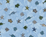 Turtle Bay - Mini Sealife Blue from Maywood Studio Fabric