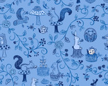 Tea Times - Woodland Animals Blue from Lewis and Irene Fabric