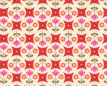 Flower Child - Fab Floral Circles Red from Lewis and Irene Fabric