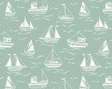 Thalassophile - Sailboat Boats Sea Green  from Lewis and Irene Fabric