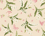Sensibility - Lilies and Butterflies Natural Pink from Maywood Studio Fabric