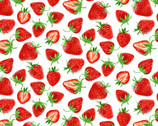 Strawberry Fields Forever - Strawberry Festival White by  Kanvas Studio from Benartex Fabrics