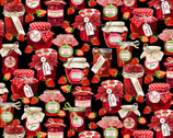 Strawberry Fields Forever - Strawberry Jamboree Black by  Kanvas Studio from Benartex Fabrics