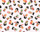 Kokeshi Girls White from Timeless Treasures Fabric