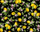 Make Lemonade - Lemon Floral Black from Timeless Treasures Fabric