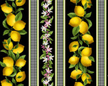 Make Lemonade - Lemon Stripe Black from Timeless Treasures Fabric