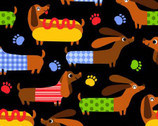 Hot Dog Black from Timeless Treasures Fabric